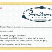 Three Brothers Boards Certificate